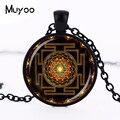 Steampunk Sri yantra mandala colgante de cúpula de vidrio collar DIY hecha a mano de moda budista sagrado geometría del encanto de la joyería de moda HZ1