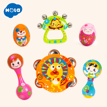Купить с кэшбэком 6pcs/set Colorful Baby Rattle Handbell Musical Tambourine Toys Children Baby Toys Cartoon Sand Egg Maracas Drum Bell Rattle Toys