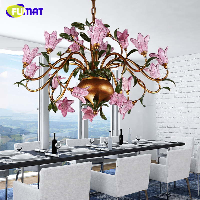 FUMAT American Metal Chandeliers Romance Warm Living Room Lightings Dining Room Lamp Creative Glass Artistic Flower Chandelier