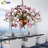 FUMAT American Metal Chandeliers Romance Warm Living Room Lightings Dining Room Lamp Creative Glass Artistic Flower Chandelier