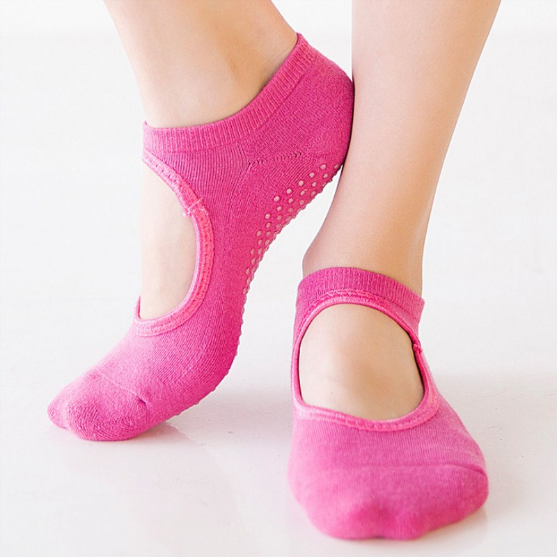 Women Yoga Backless Socks High Quality Anti-Slip Ankle Grip Socks Dots Pilates Fitness Gym Socks Ladies Sports Socks NEW