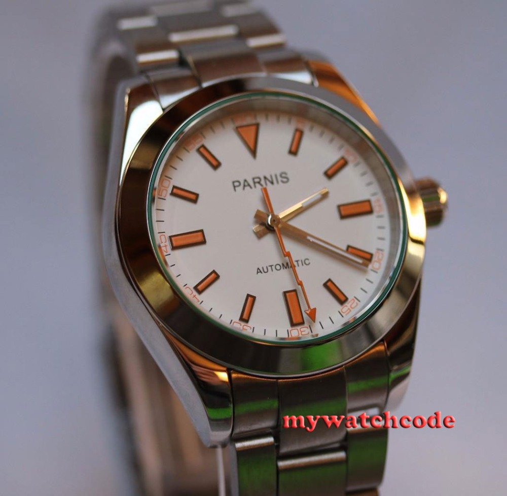 лучшая цена 40mm parnis white dial sapphire glass automatic miyota movement mens watch P201