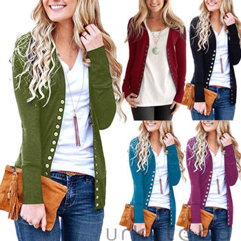 Womens Newest V-Neck Button Down Knitwear Long Sleeve Soft Casual Basic Knit Snap Cardigan Autumn Jackets