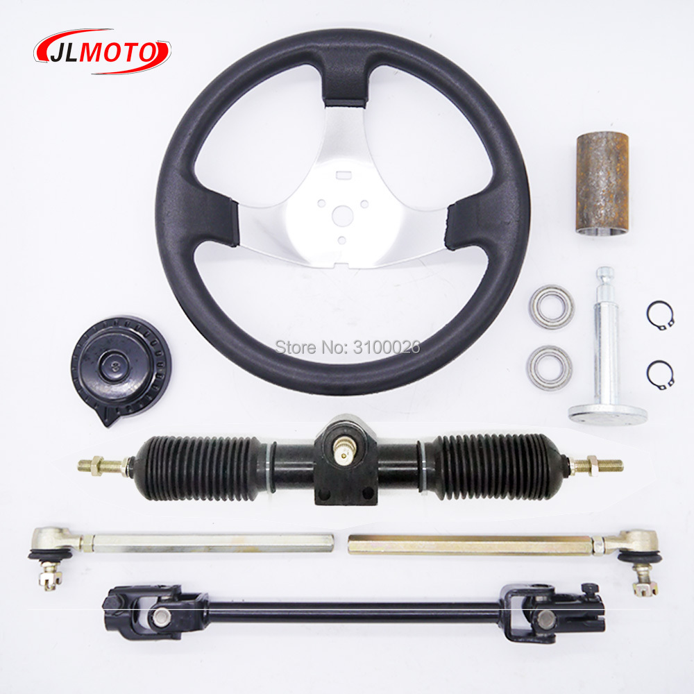 300mm Steering wheel 430mm Full Steel Gear Rack Pinion 380mm U Joint Tie Rod Knuckle Assy