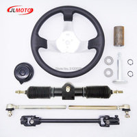 300mm Steering wheel 430mm Full Steel Gear Rack Pinion 380mm U Joint Tie Rod Knuckle Assy Fit For Go Kart Buggy UTV Bike Parts
