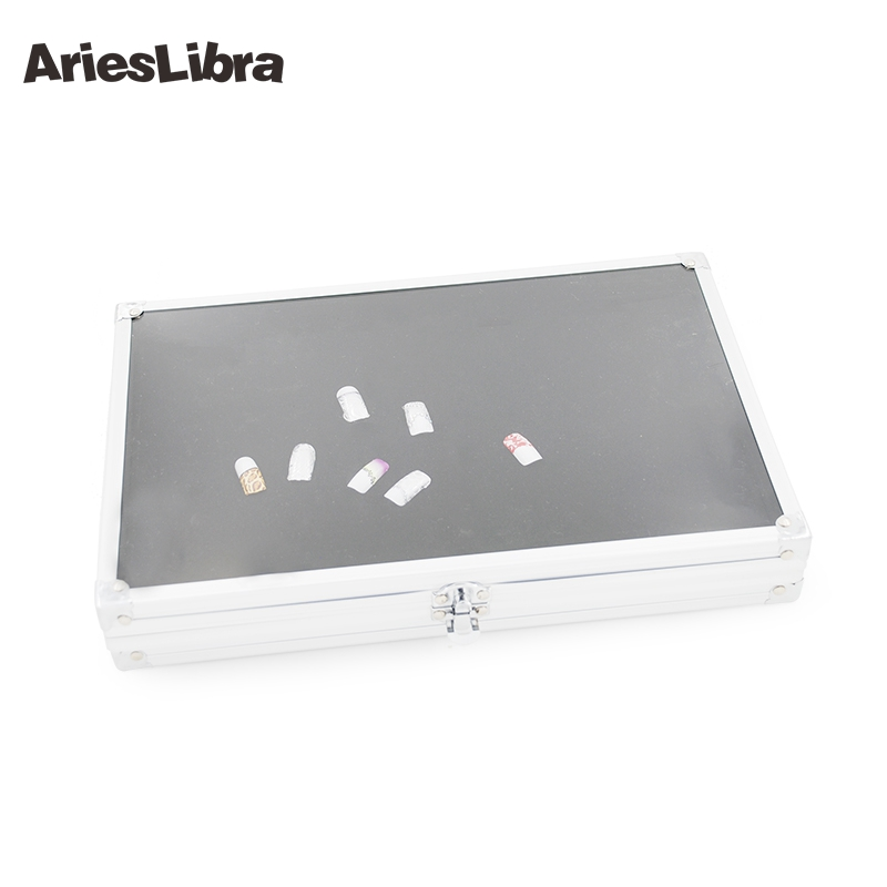 AriesLibra Silver High Quality Decoration Display Case Storage Box Stainless Steel Nail Art Display Case for Nail Art Tool stainless steel cuticle removal shovel tool silver