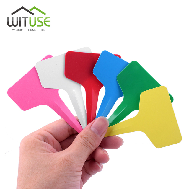 50/100/300pcs Plastic T type Plant Marker Labels Colored White Blank Labels For Nursery Garden Plant With Marker Pen