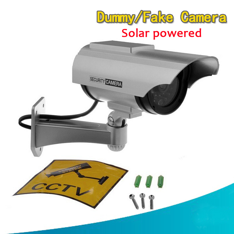Dummy Fake Bullet  Indoor/Outdoor Surveillance Camera Solar Powered Red LED Blinking Light Home CCTV Security Camera wholesale 4 pcs lot motion detection bullet camera security dummy solar powered w flashing led