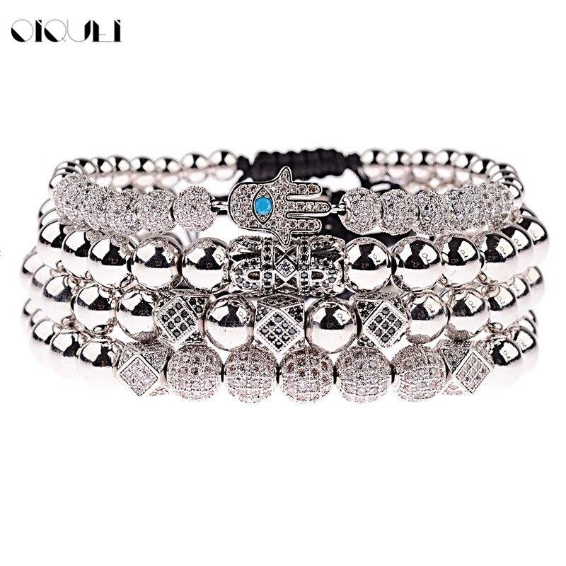 OIQUEI 4 pièces/ensemble De Luxe Bijoux Bracelets Hommes Faits À La Main Micro Pave zircone cubique Hamsa Main Géométrique Perles bracelet porte-bonheur Homme