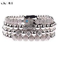 OIQUEI 4pcs /set Luxury Jewelry Bracelets Men Handmade Micro Pave Cubic Zirconia Hamsa Hand Geometric Beads Charm Bracelet Homme