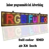"""Scrolling LED Segni di Colore Completo SMD PH10mm 40 """"x 8"""" Display dei Messaggi uso Interno USB Programmabile led Segno per le Imprese Ad Bordo"""