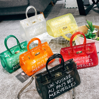 Clear Transparent PVC Shoulder Bags Women Candy Color Women Jelly Bags Purse Solid Color Handbags Totes Lady Crossbody Bag Chic