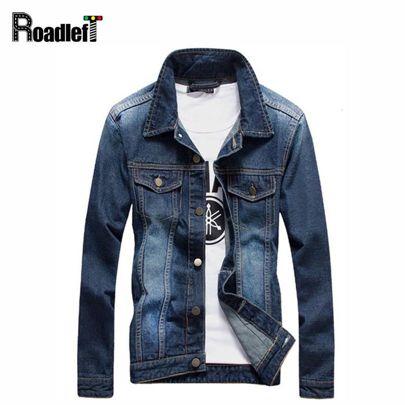 Male British vintage style denim jackets outerwear Mens casual ...