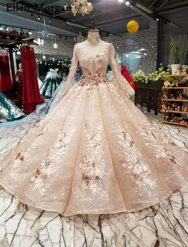 Vintage Long Sleeves Backless Muslim Wedding Dresses 2019 For