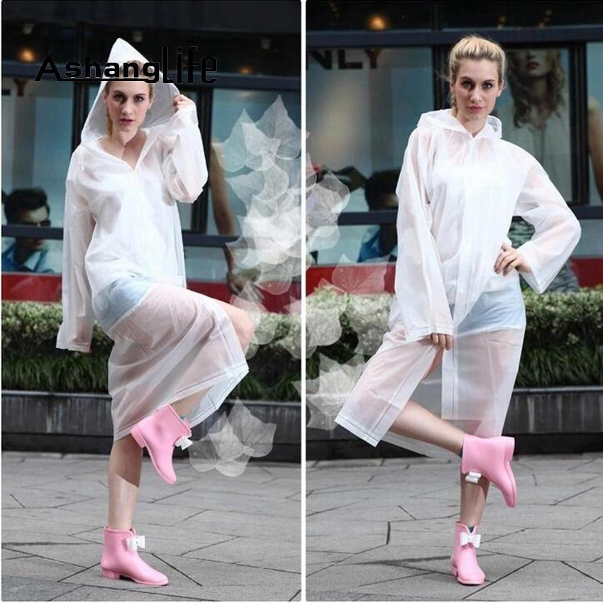 Ashanglife Fashion Women EVA Transparent Raincoat Poncho Portable Light Raincoat NOT Disposable Rain Coat For Adult