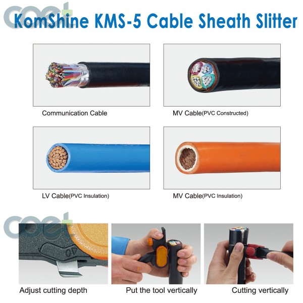 KOMSHINE KMS-5 Cable Sheath Slitter For Fiber Optic Cable Stripping, longitudinal cable cutter vertical