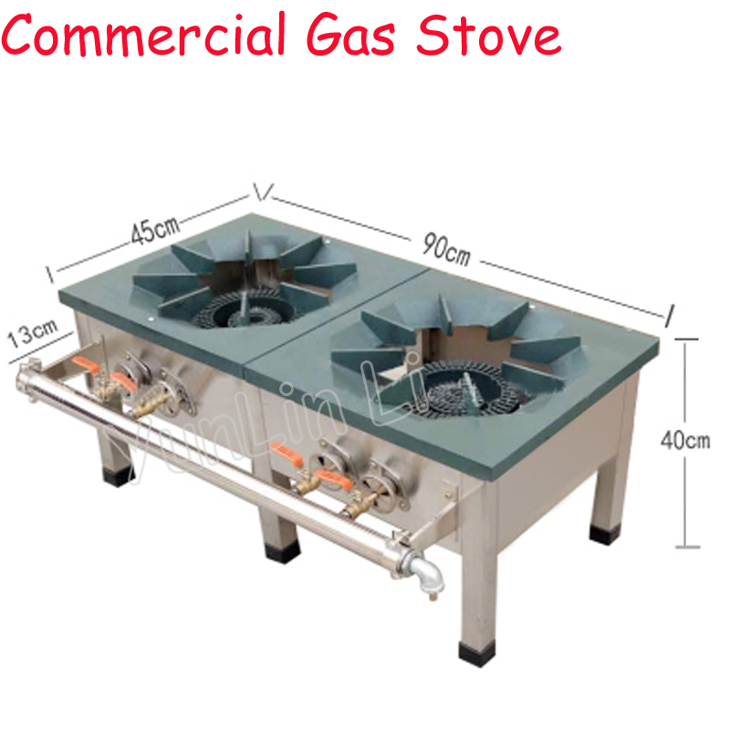 Commercial Gas Stove Stainless Steel Dual-Cooker Cooktop Stove Strong Load Capacity & Energy-Saving Multifunctional Stove euro style 35 5 in coated glass 5 burners built in stove ng gas cooktop cooker