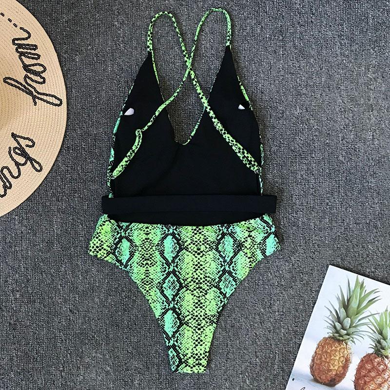 Одноцветный купальный костюм с бретельками, модель 2020 года, сексуальный купальник для женщин, с поясом, с высокой посадкой, пляжная одежда, u-... 43