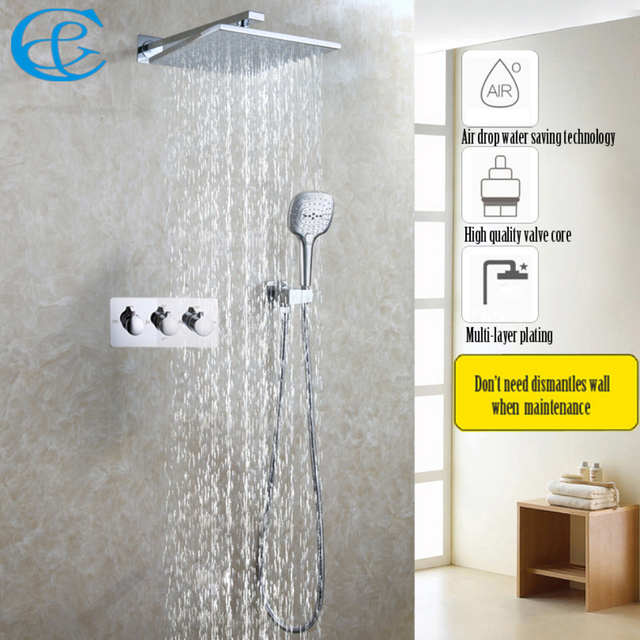 10 Air Drop Rainfall Shower Head Polished Chrome Bath Faucet Bathroom Luxury Rain