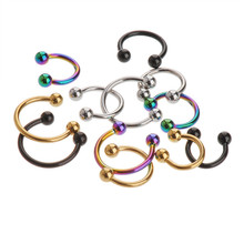 Sale 2 Pcs Stainless Steel Nostril Nose Ring Sircular Piercing Ball Horseshoe Body Jewelry