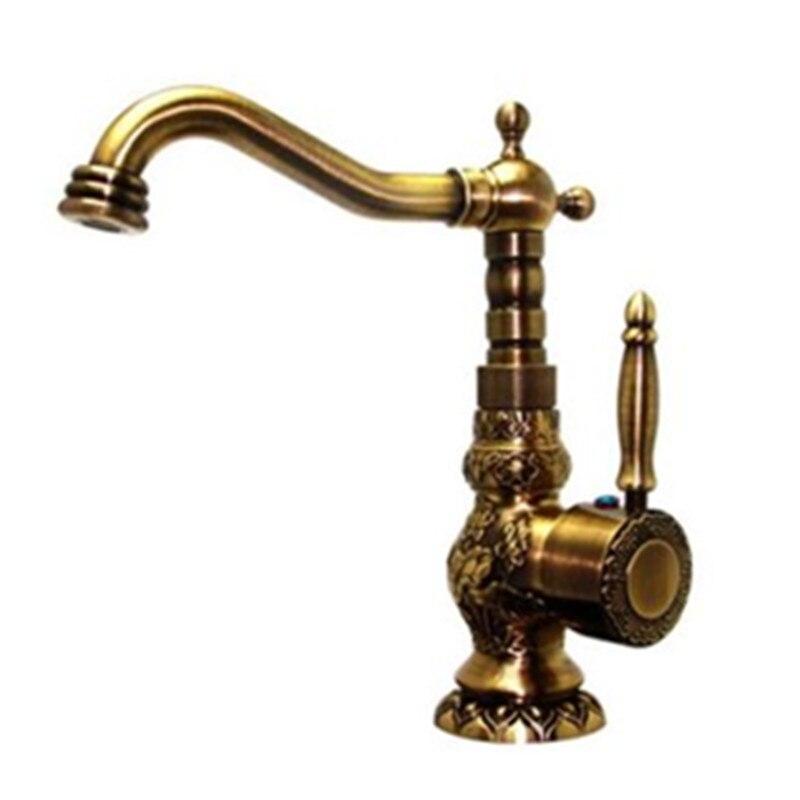 Homedec под старину Кухня крючок и сосуд Раковина кран одной ручкой и отверстия латунь вращения водопроводной воды Torneira Cozinha