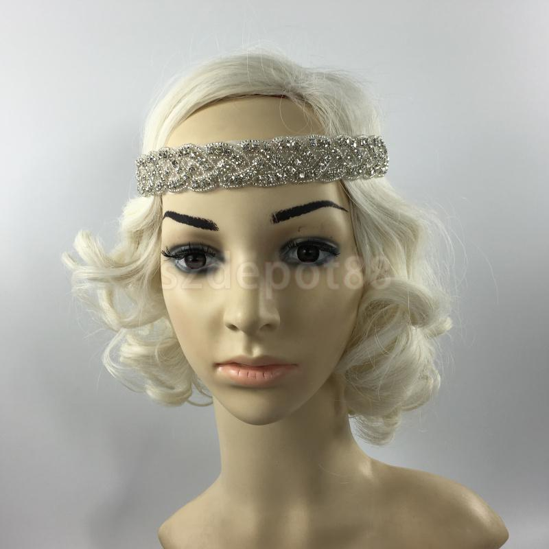 1920s 1930s Flapper Great Gatsby Hair Jewelry Wedding Crystal Rhinestone Headband Vintage Hair Accessories Head Chain