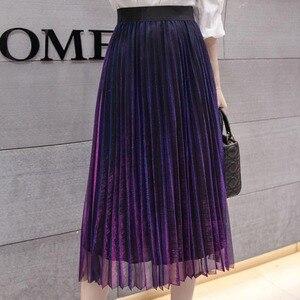 Image 3 - נשים קיץ קפלים חצאיות 2019 רשת Midi Saia גבוה מותניים בציר תחרה גברת חצאית נהיגה לראשונה חצאית Femme Falda Etek Mujer אפור סגול ירוק