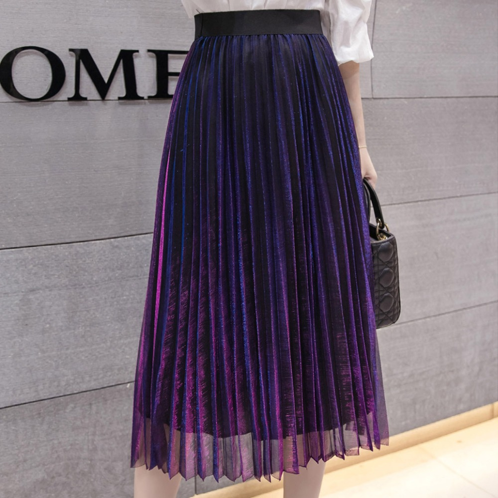 Image 5 - Women Summer Pleated Skirts 2019 Mesh Midi Saia High Waist Vintage Lace Lady Skirt Jupe Femme Falda Etek Mujer Gray Purple Green-in Skirts from Women's Clothing