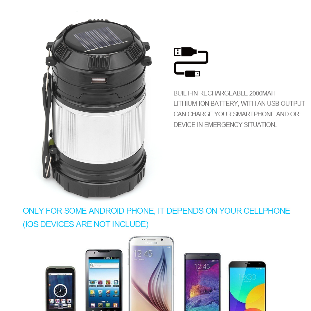 2 In 1 Led Lamp Flashlight Solar Portable Outdoor Emergency Battery Protector Rechargeable Camping Light Lantern Handheld Usb Output Charger Hike Lanterns From