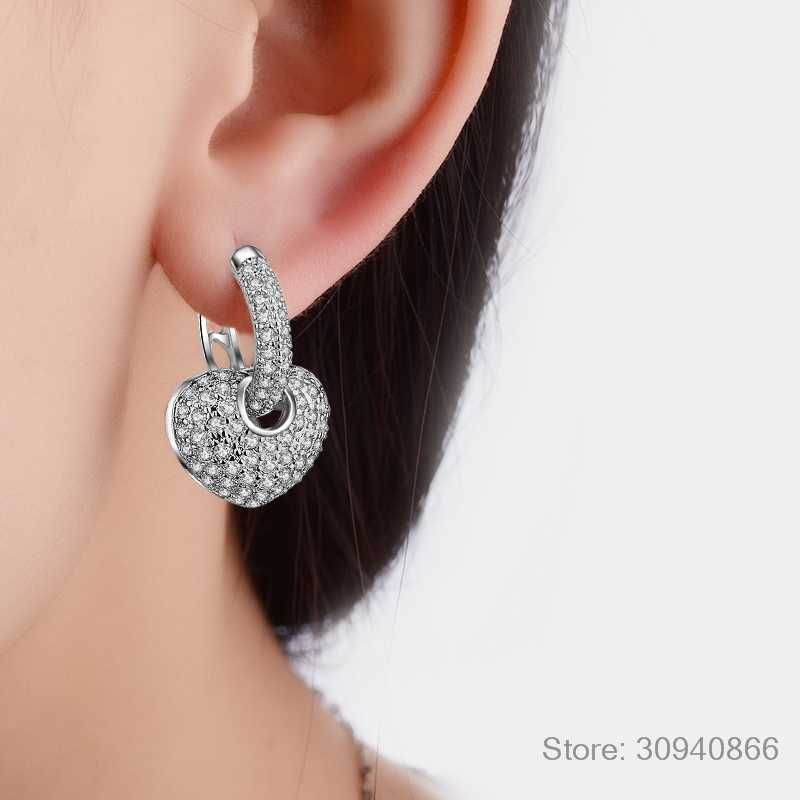 2018 Delicate tiny Fine Jewelry 925 Sterling Silver Earring luxury Full CZ Heart circle hoop mini small Earring For girl women