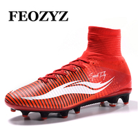 Size 38 46 AG High Ankle Football Boots Shoes Women Mens Soccer Cleats Superfly Soccer Boots