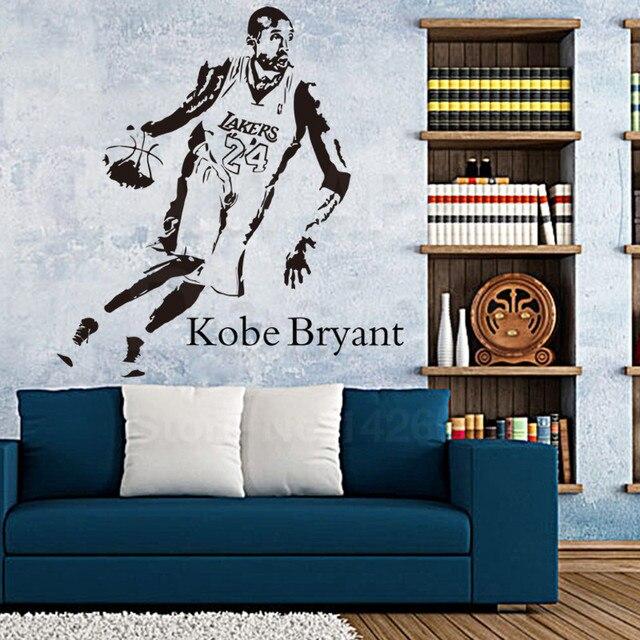 Art nouveau design pas cher home decor vinyle nba étoiles kobe mur autocollant coloré maison décoration