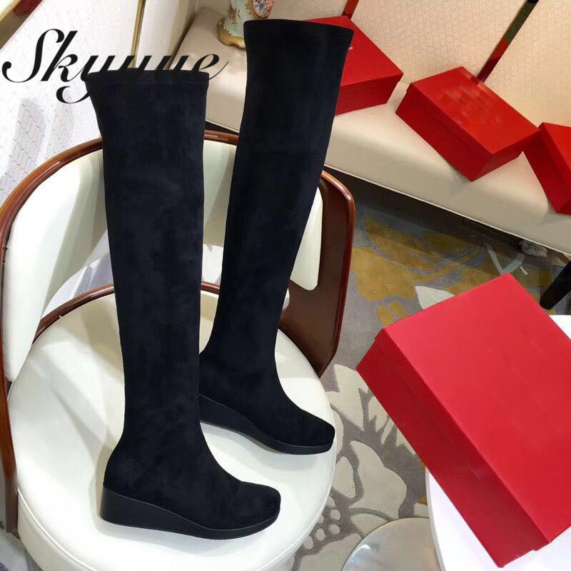 SKYYUE New Suede Leather Gladiator Over The Knee HIgh Thigh High Boots Round Toe Slip On Women Winter Boots Shoes Women round toe suede slip on plimsolls