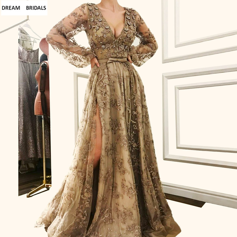 Muslim Long Sleeves Abiye Deep V-Neck   Evening     Dresses   Long Sexy High Split Abendkleider 2019 Lace Beading Robe De Soiree