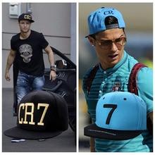 2 Colores 2015 Cristiano Ronaldo CR7 Negro Azul Gorras de Béisbol de la cadera hueso chapeu hop Deportes Del Balompié Del Snapback Del sombrero de sol mujeres de Los Hombres