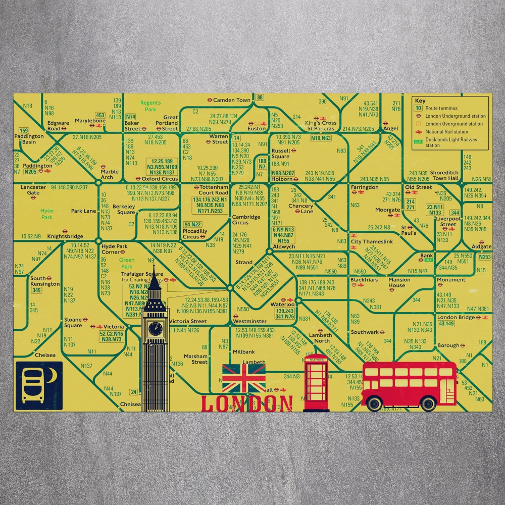 London City Travel Map Modern Poster Art Wall Pictures Silk Fabric ...