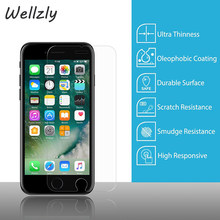 Wellzly 9H tempered glass For iphone6/6s 6/6Splus screen protector protective guard film case cover+clean kits B9(China)