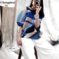 Changpleat 2019 summer New Printed Women T shirts Tops Miyak Pleated Fashion loose O neck Large Size Female Short T shirt Tide