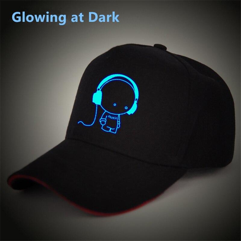 Tokyo ghoul Fairytail superman music headphone luminous glow at dark   baseball     cap   men women hip hop Rapper bboy   cap