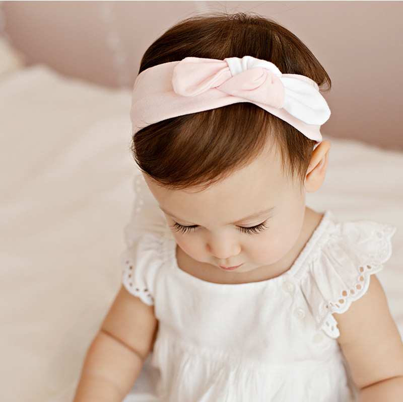 New children accessories female baby rabbit ears knotted hair band double color cotton Bow Headband knot headwrap turban knotted bow gingham headband 2pcs
