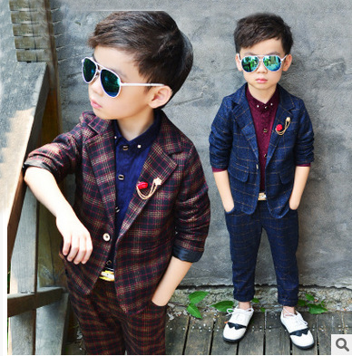 2pcs/set(Jacket+Pants) Elegant New Boys Formal Suits for Weddings England Style Man Child Plaid Formal Party Boys Formal Suits