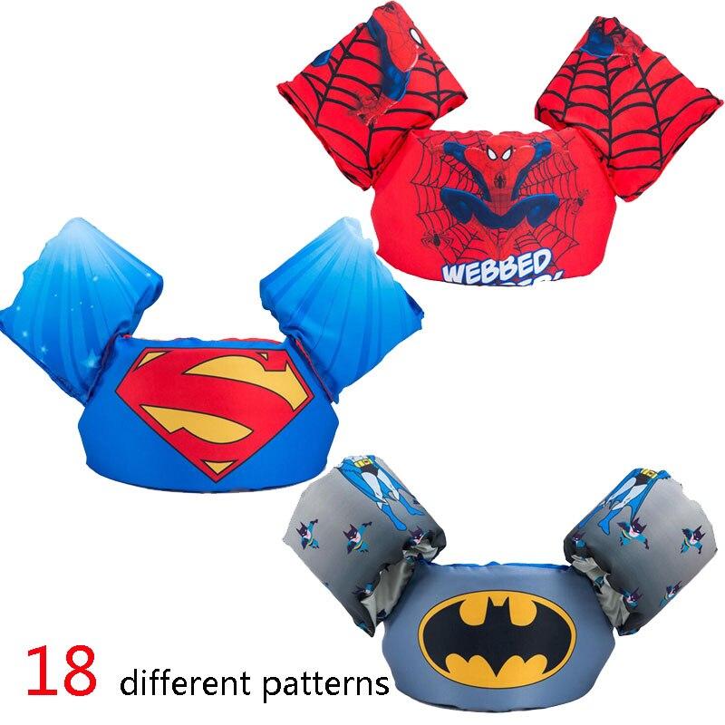 Bambini maglia di vita del bambino Superman batman spiderman nuoto ragazzi ragazze giacca pesca supereroe nuoto piscina cerchio accessori anello