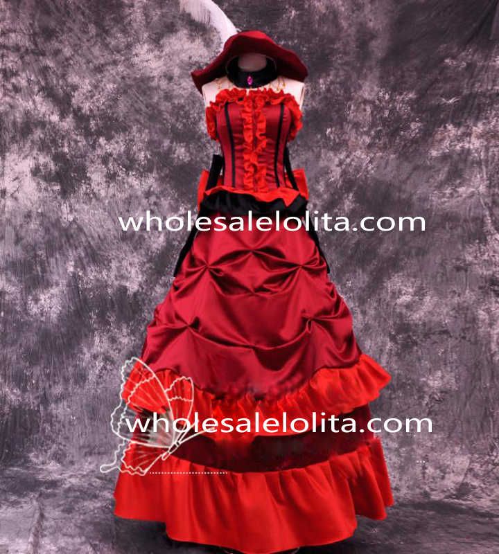 Robe Dress Black Up Livraison Party Cosplay Madame Butler Rouge Costume Gratuite cosplay qvw5B8