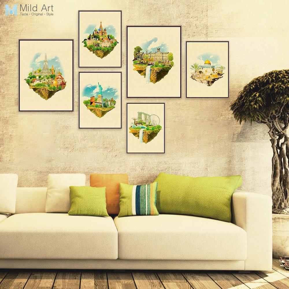Online Shop 3 Piece Abstract City Skyline Canvas Art Watercolor ...