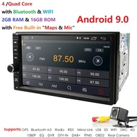 Ossuret 7Universal Quad Core 2Din Car Android 9.0 Radio Multimedia Player 4G WIFI 2GRAM 16GROM GPS Navigation MirrorLink Cam BT