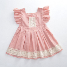 Spring Summer  Baby Girls pink Princess Dress Vintage Spanish dress Flutter Sleeve Floral Lolita Party Dress for Girls 2-6 years недорого