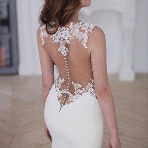 Image 5 - LORIE vestidos de novia de sirena, vestido de novia blanco y marfil transparente con apliques de encaje, sexi, para la playa, a medida, con espalda descubierta