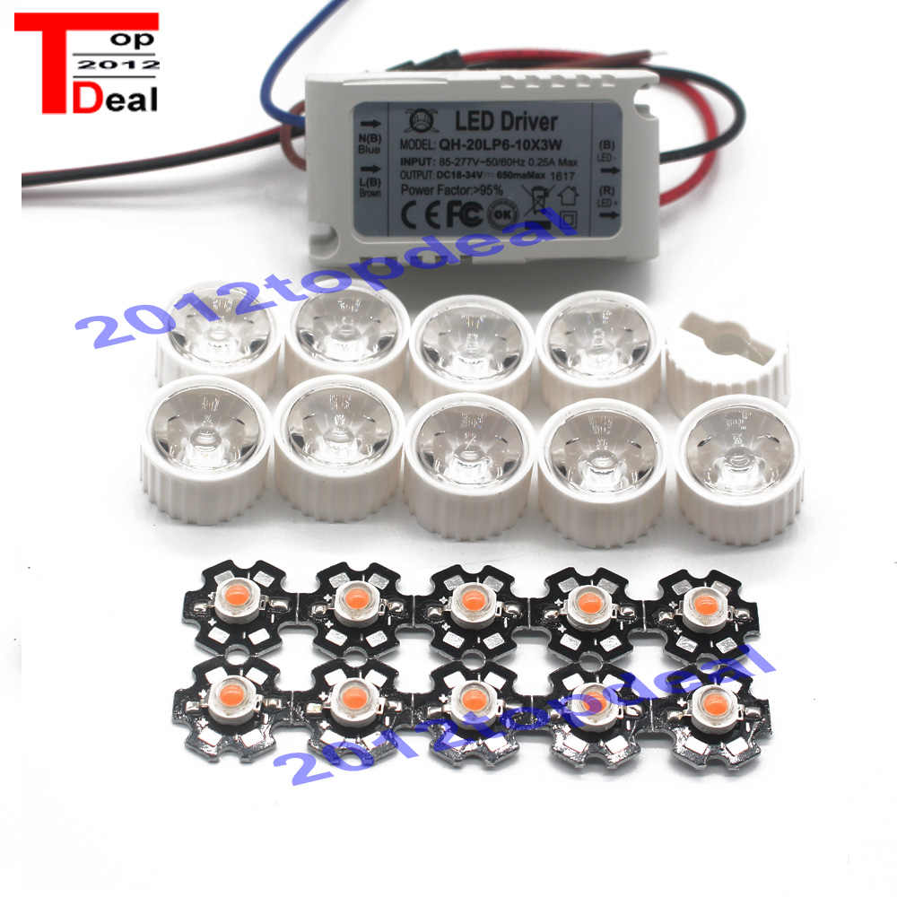 10 stks 3 w volledige spectrum led 380-840nm + 1 stks 6-10x3w 600mA led driver + 10 stks led lens led kit