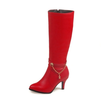 Women's Soft Leather Knee High Boots w/ Round Toe Red