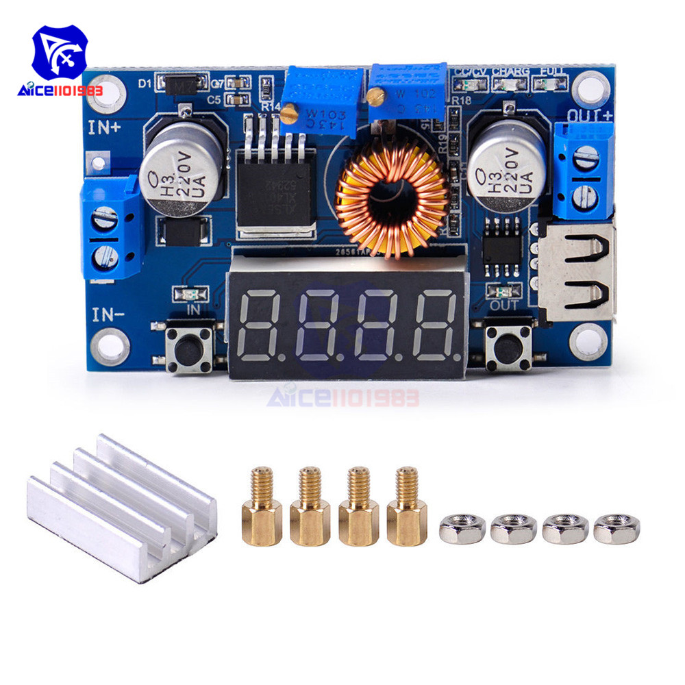 Adjustable 5A CC//CV Power Step-down Charge Module LED Driver USB Voltmeter+Case